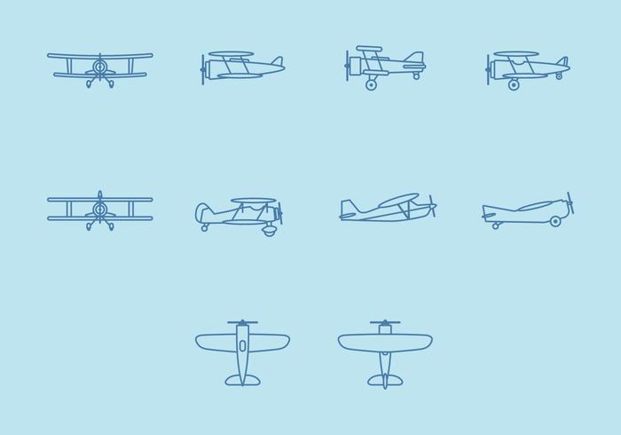 Conjunto de ícones de biplano