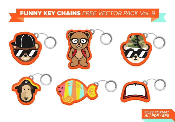 Funny Key Chains Free Vector Pack Vol. 9