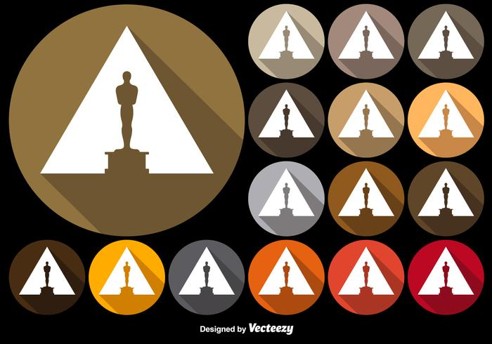 Vector Colorful Buttons With Oscar Statuette Icon