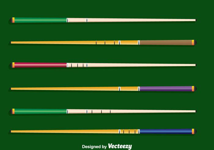Pool Sticks Collection Vector