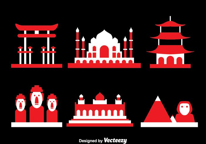 World Landmark Ikoner Vector
