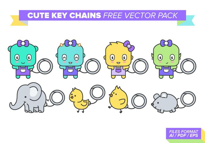 Cute Key Chains Vector Pack