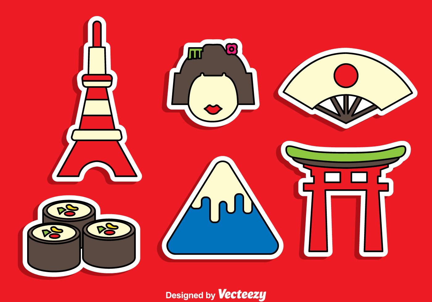 Japanese Sticker Vector Set - Download Free Vector Art ...