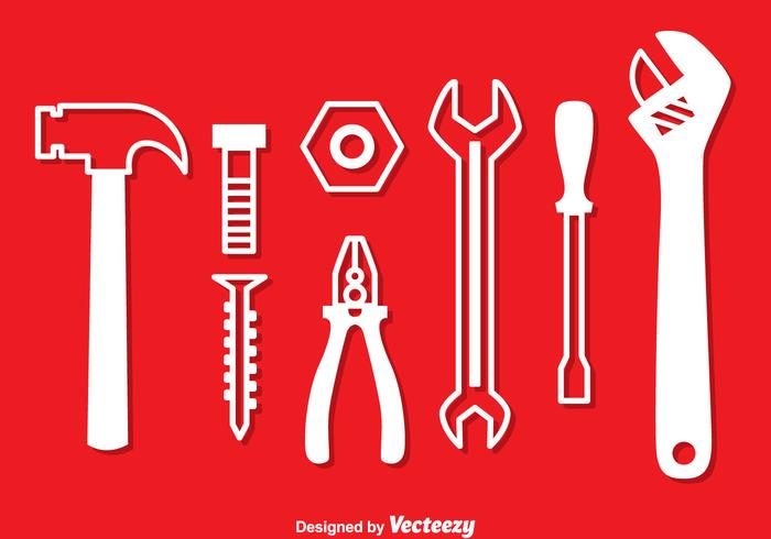 Repair Tools White Icons vector