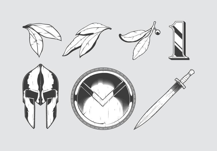 Set of etched spartan warrior elements