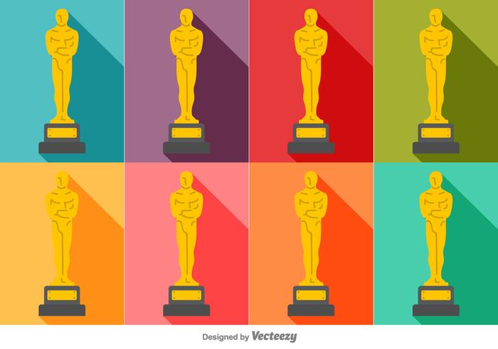Vector Colorful Set Of Oscar Statue Icons