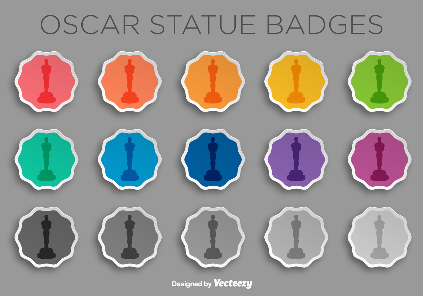 Vector oscar statuette icons collection download free vector art vector sticker set with oscar statue iconsilhouette stopboris Image collections