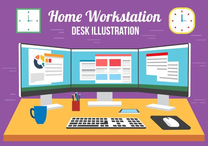 Free Vector Multi Screen Desk