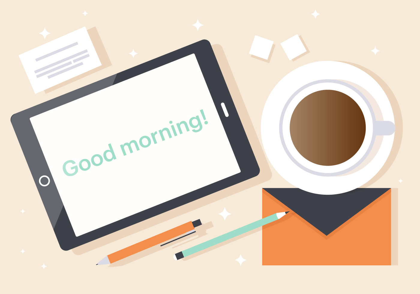 Good Morning Tablet Vector Illustration Download Free