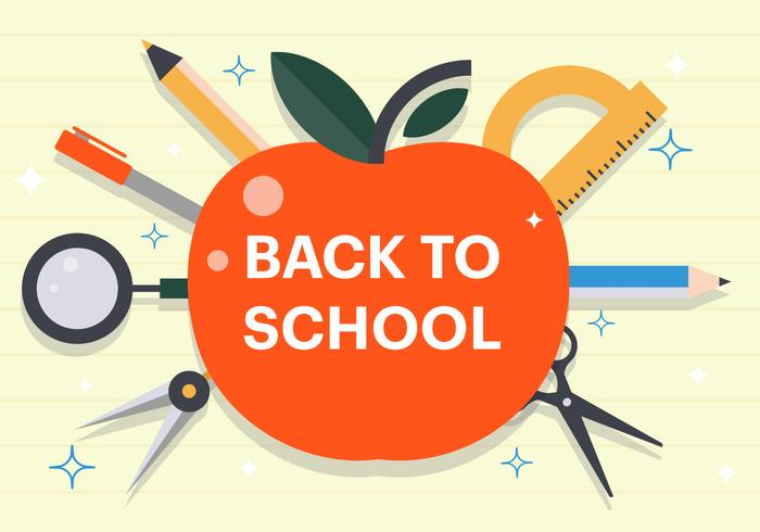 Free Flat Back to School Vector Illustration