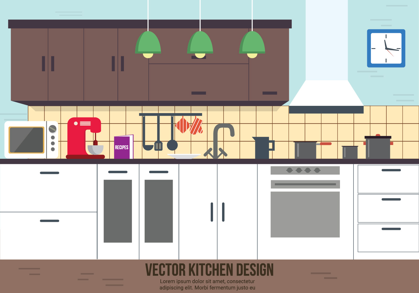 Free kitchen vector design download free vector art for Kichan image