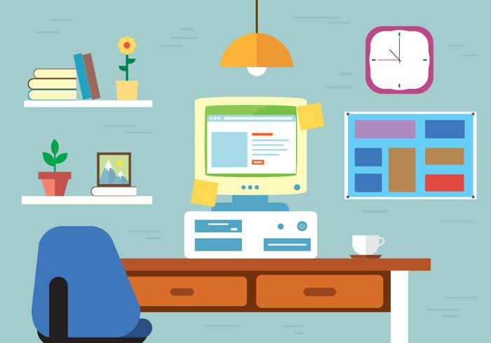 Free Work space Vector Desk