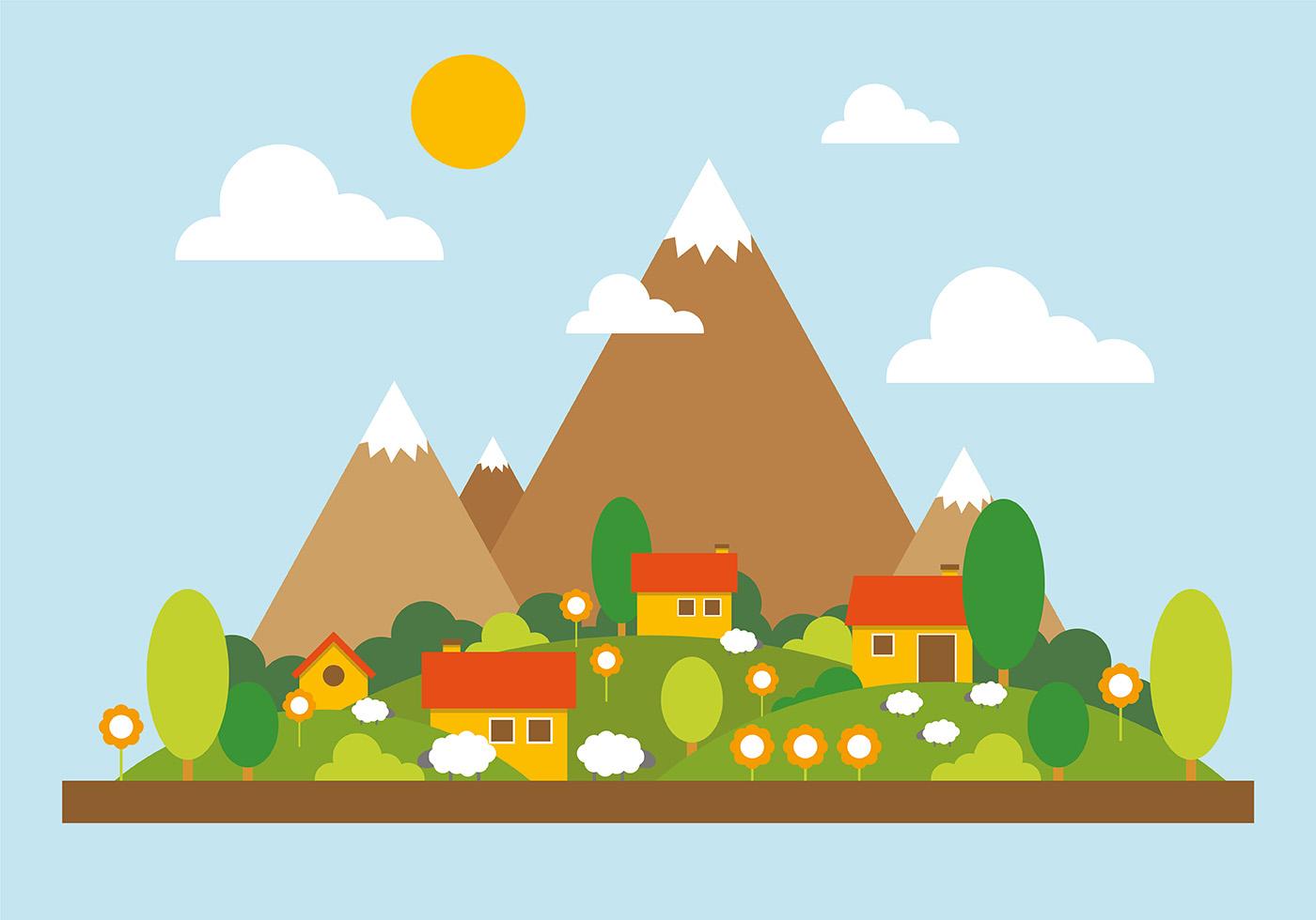 Landscape Illustration Vector Free: Mountain Landscape Vector Illustration