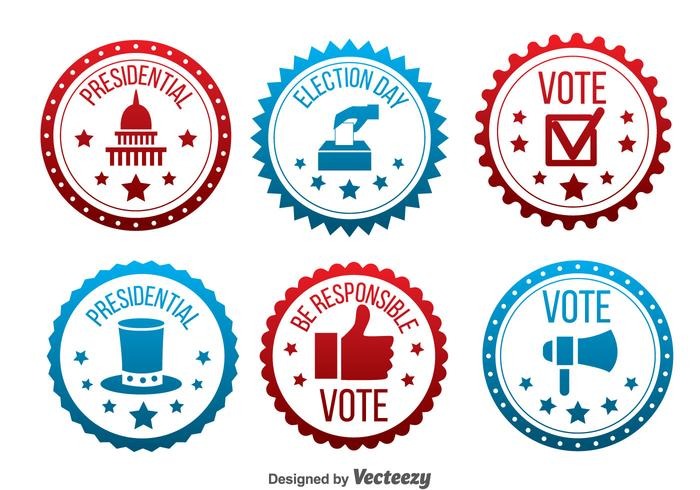 Red And Blue Presidential Election Badge Vector