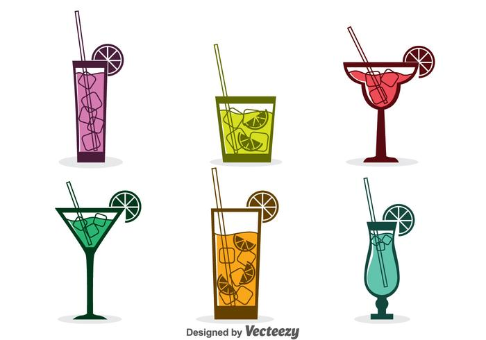Geassorteerde Cocktail Pictogrammen Vector