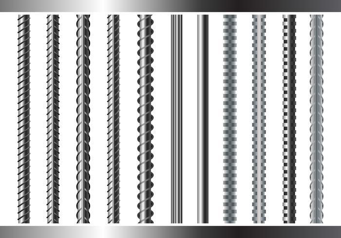 Sreel Rebars Set on White Background