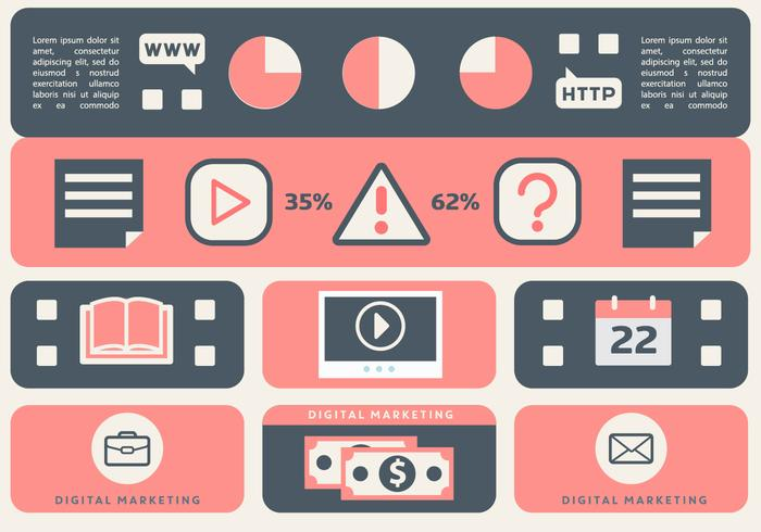 Free Flat Web Marketing Vector Illustration