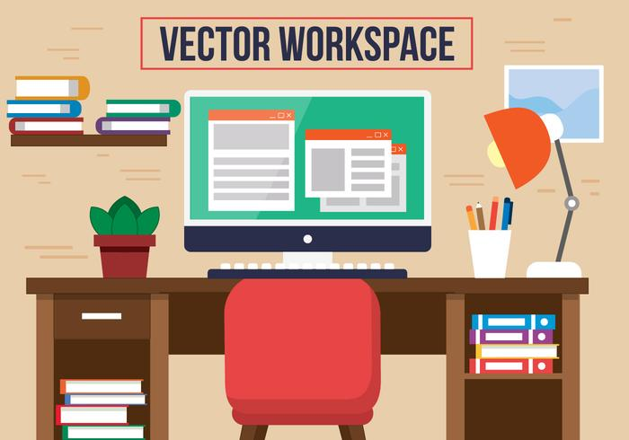 Free Red Chair Office Vector Desk