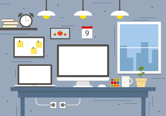 Modern Business Workspace Koncept Vector Illustration