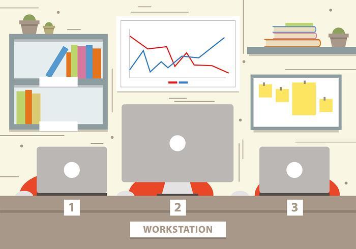 Free Marketing Workstation Vector Illustration
