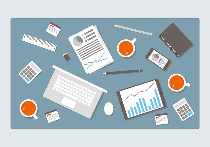 Gray Flat Workspace Vector Illustration