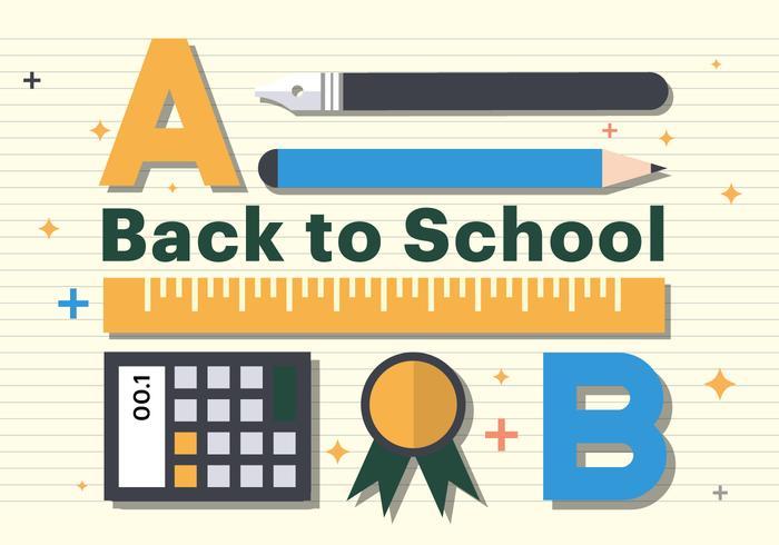 Free Flat zurück zu Schule Lineal Illustration