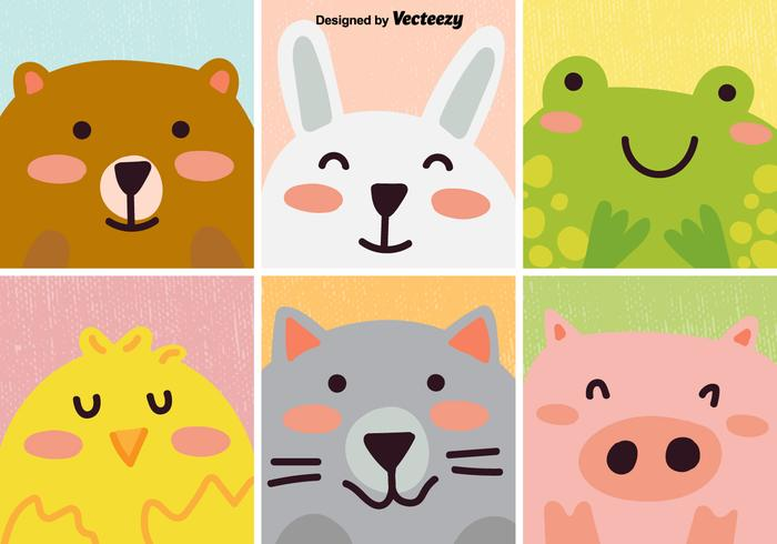 Cartoon animals free vector art 13313 free downloads vector set of cute cartoon animal voltagebd Gallery