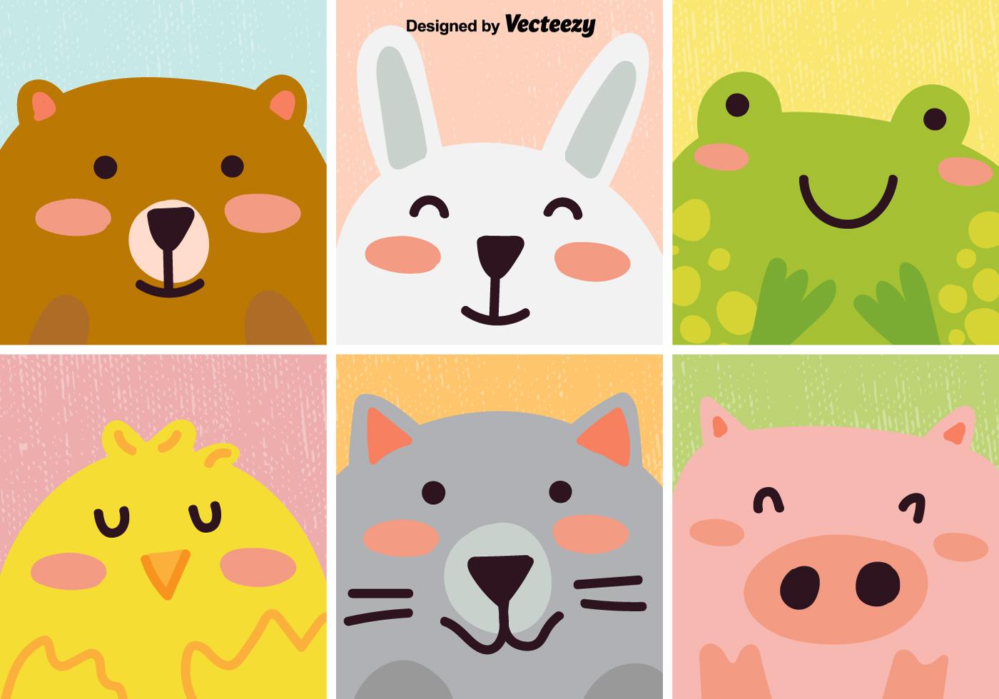 vector set of cute cartoon animal download free vector