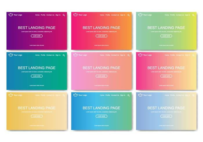 Free Landing Page Web Kit Linear Gradient Vector