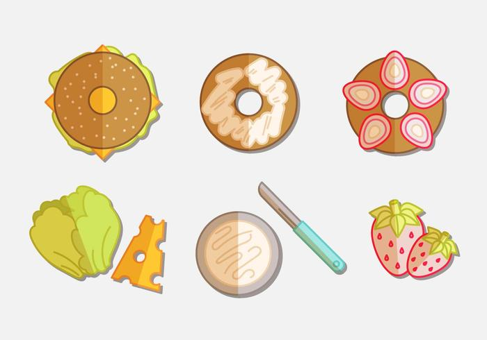 Bagel flat icon set vector
