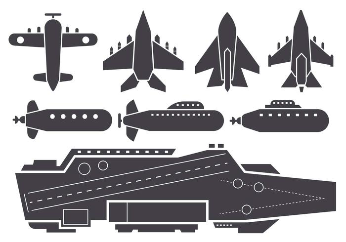 Free Silhouette AIrcraft Carrier e Jet Aircraft Vector