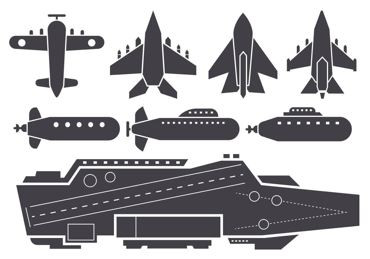 Silhouette AIrcraft Carrier and Jet Aircraft Vector ...