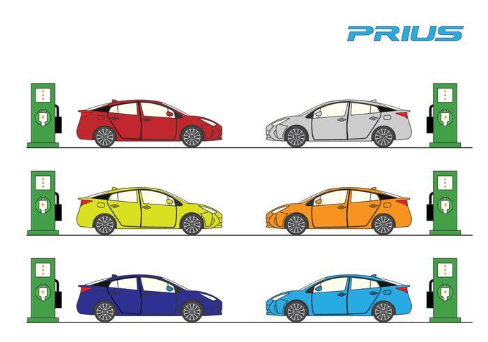 Conjunto de vectores de coches Prius