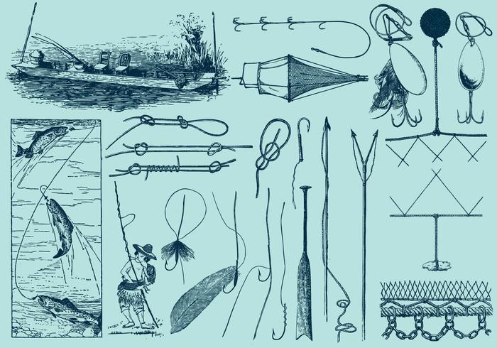 Angeln Werkzeuge Und Zeichnungen vektor