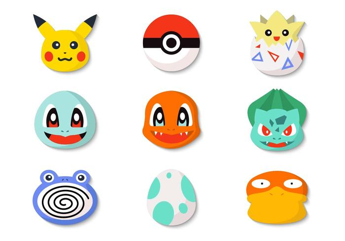 Free Pokemon Icons and Pokeball Vector