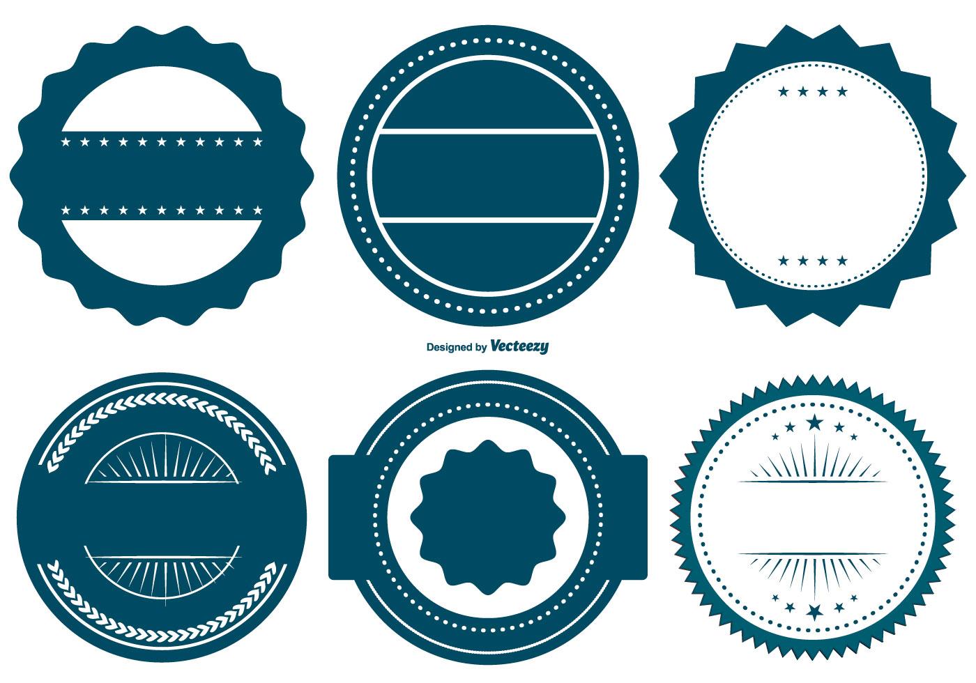 vector blue badge shapes