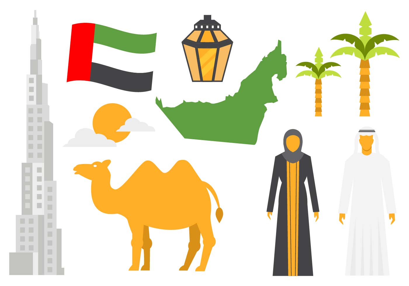 United Arab Emirates Icons Vector Download Free Vector Art Stock