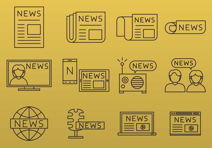 Iconos de línea de noticias