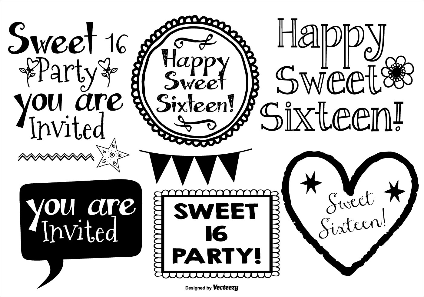 Cute Sweet 16 Drawn Lables Download Free Vector Art