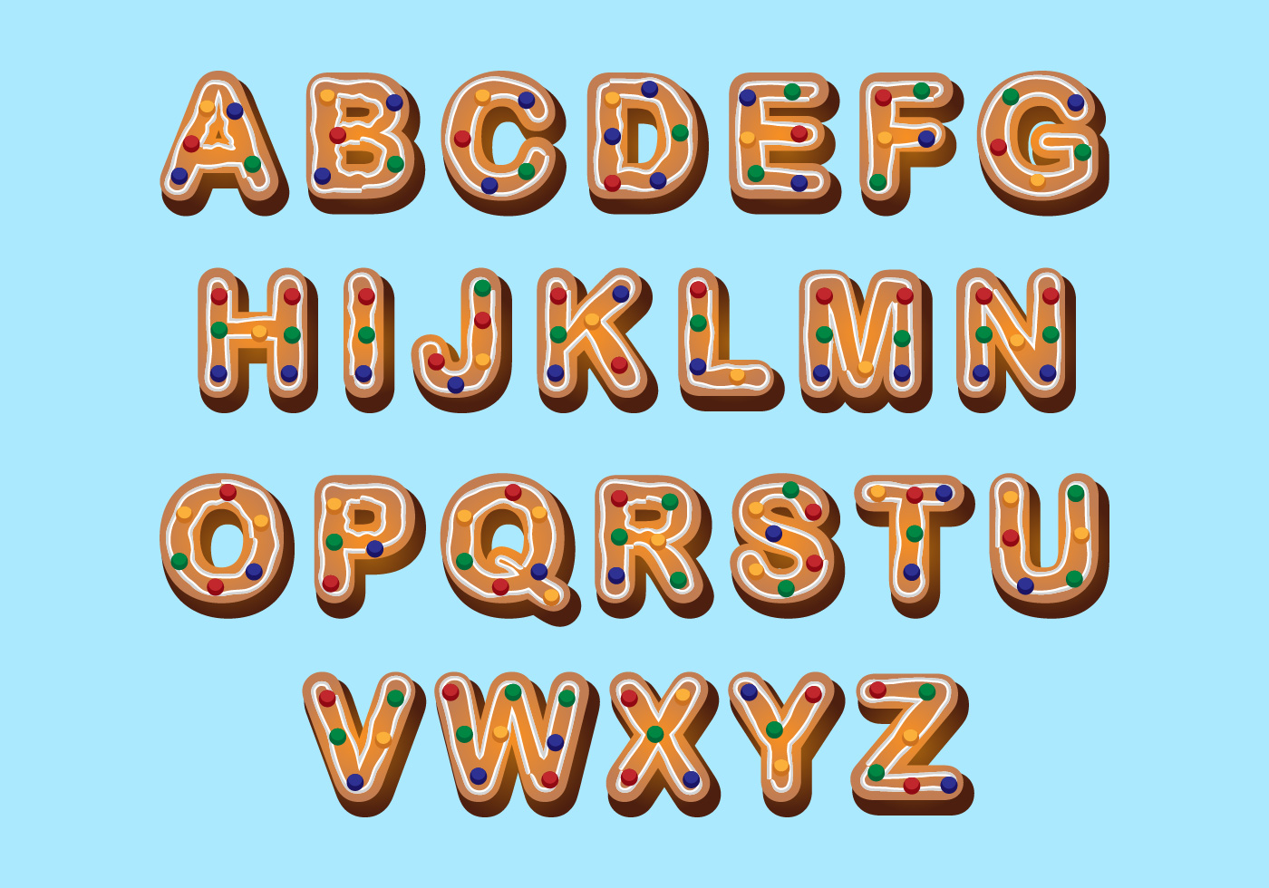 Free Christmas Alphabet Cookies Download Free Vector Art