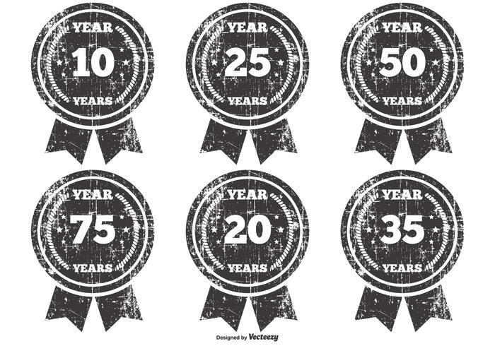 Grunge Anniversary Badges vector