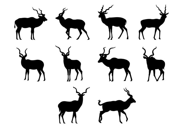 Kudu Silhouettes Vector