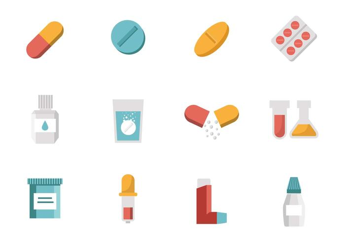 Medicine ( Drugs ) Collection Icons Vector