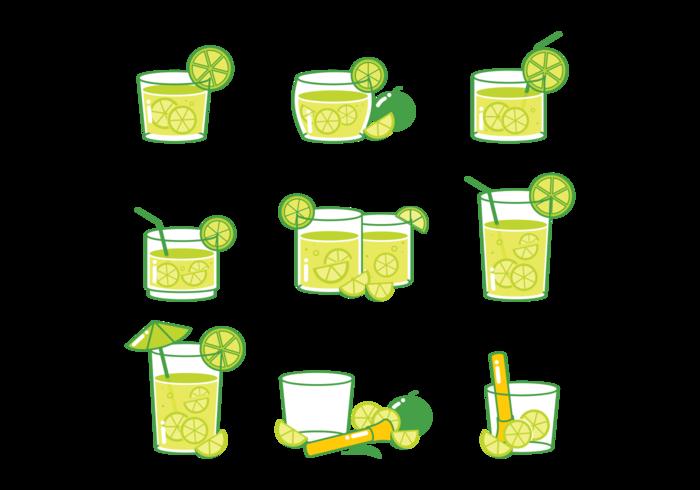 Icônes de cocktail Caipirinha vecteur