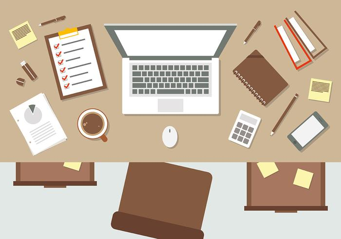 Brown Flat Workspace Vector Illustration