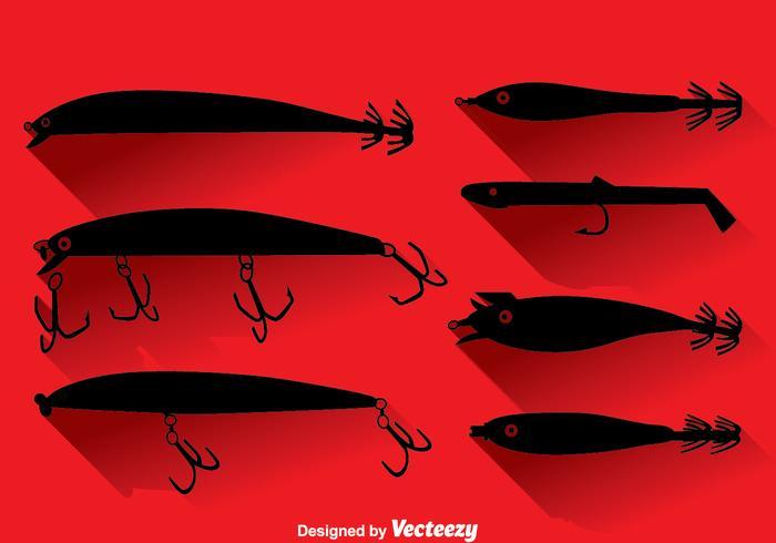 Silueta pesca señuelo conjunto de vectores
