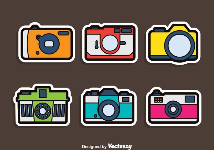 Conjunto de vectores de pegatina de cámara