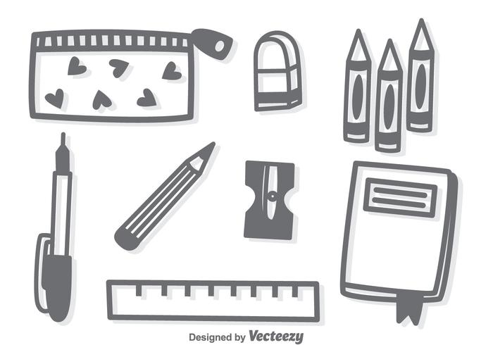 Hand Drawn Stationary Vector
