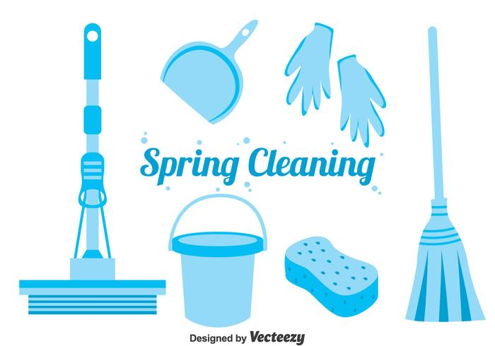 Blue Spring Reinigung Icons Vektor