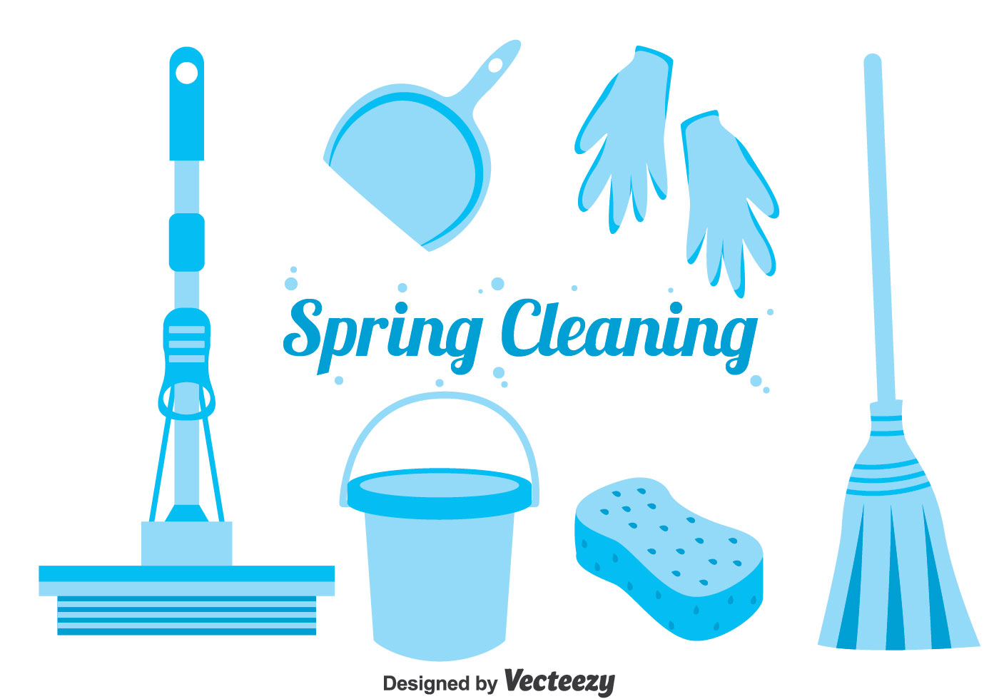 Blue Spring Cleaning Icons Vector Download Free Vector